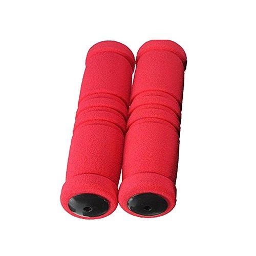 UMFun1pair Bike Racing Bicycle Motorcycle Handle Bar Foam Sponge Grip Cover Non-slip (Red)]()