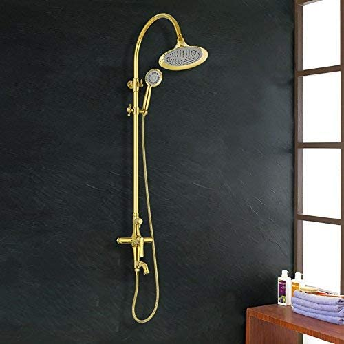 ZY-YY 蛇口アンティークハンドヘルド商品棚と天井レインシャワー付きの雨ヘッドゴールドシャワー蛇口セット浴室のシャワー浴槽ミキサータップ、ホワイト