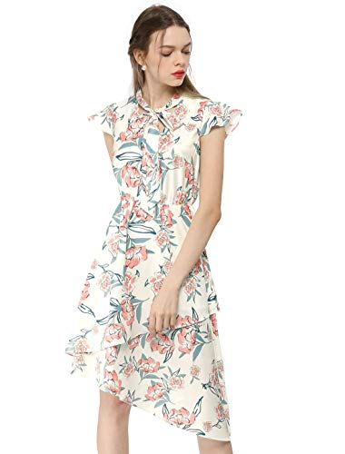 (Allegra K Women's Ruffle Short Sleeves Tie V Neck Stretchy Waist Asymmetrical Layered Floral A-Line Dress Off White S (US 6))