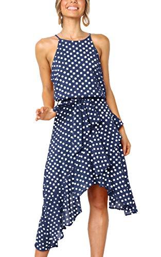 ECOWISH Womens Polka-dot Laced Irregular Cocktail Dress Sleeveless Neckholder Sexy Sundress Blue XL