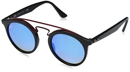 Ray-Ban Injected Unisex Round Sunglasses, Matte Black / Mirr...