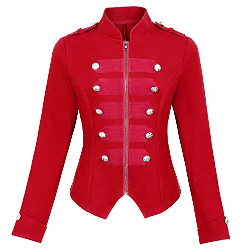 Women's Steampunk Military Blazer Coat Tops Victorian Jacket Red Size S]()