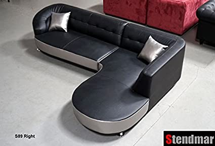 Attirant NEW Modern Black / Silver Genuine Leather Sectional Sofa S89a