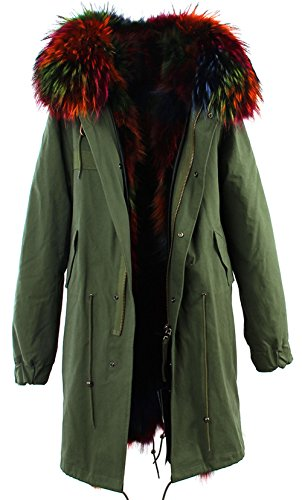 - S.ROMZA Women Real Raccoon Fur Parka Casual Long Hooded Coat Detachable Jackets (US 10, Army Green&Multicolor)