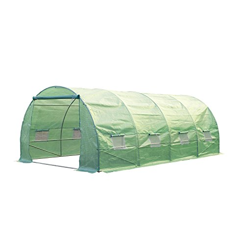 Outsunny 20′ x 10′ x 7′ Portable Walk-in Garden Greenhouse – Deep Green