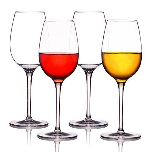 MICHLEY Unbreakable Wine Glasses, 100% Tritan Plastic Shatterproof Wine Goblets, BPA-free, Dishwasher-safe 12.5 oz, Set of (Plastic Wine Goblets)