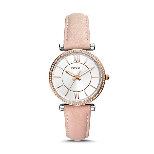 (Fossil Carlie 3 Hand Womens Wrist Watch w/Blush Pink Leather Strap & White Face)