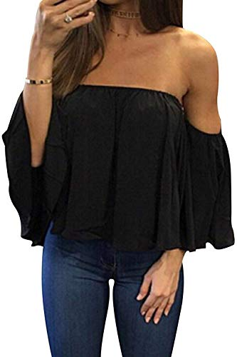 BLUETIME Women Boho Ruffle Off Shoulder Bell Sleeve T-Shirts Casual Summer Chiffon Tunic Tops (XXL, Black)