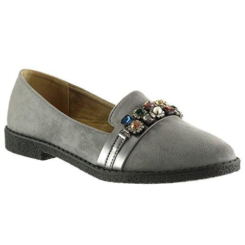 Angkorly - Women's Fashion Shoes Mocassins - slip-on - jewelry - thong - finish topstitching seams Block Heel 2 CM Grey TaECw