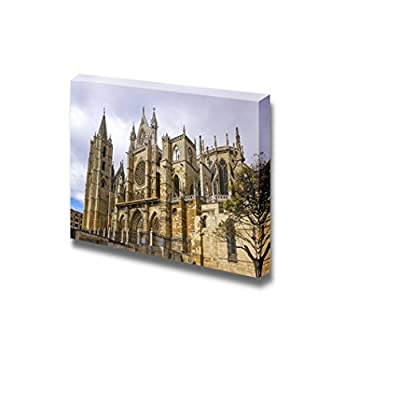 Canvas Prints Wall Art - Famous Landmark Gothic Cathedral of Leon, Castilla Leon, Spain | Modern Home Deoration/Wall Art Giclee Printing Wrapped Canvas Art Ready to Hang - 32
