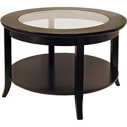 Genoa Round Espresso Coffee Table With Glass Top Solid And Composite Wood  Dark Espresso Chocolate NEW