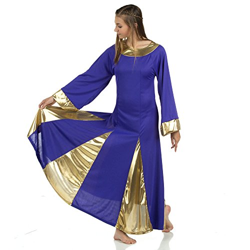 Danzcue Womens Praise Robe Dress, Deep Purple-Gold, - Dance Dresses Liturgical