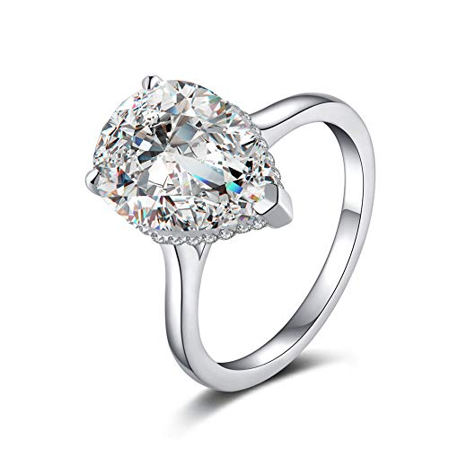 Erllo Pear Shaped Engagement Platinum Plated Teardrop CZ Solitaire Wedding Ring in Sterling Silver (6.5)