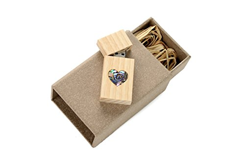 8 Gb Pearl (Mother of Pearl Veneer Heart in Birch Wood 8GB USB 2.0 Flash Drive - Wedding and Love Design - With Handmade Paperbox - Filled with Raffia Grass)