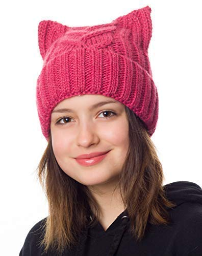 Hats&Cats Pussy Cat Hat Women`s March-Cat Beanie Pink-Winter Hat For Women Lined With Fleece (Hot Pink) (Hot Pink)