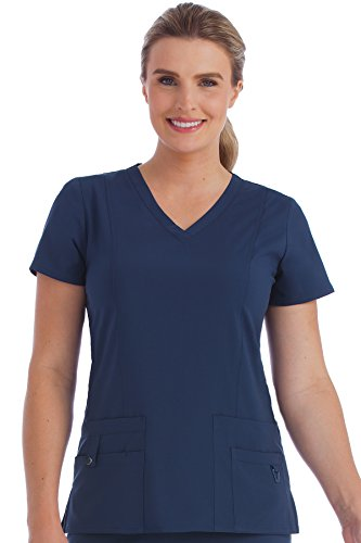 Med Couture Activate Scrub Top Women, V-Neck Princess Seam Top, Navy, Small from Med Couture