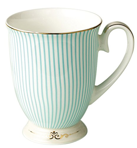 Jusalpha Royal Fine Bone China Light Blue Stripe Coffee Mug/Tea Cup/Gift Box (Mug02) ()