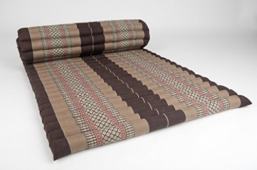 Design by UnseenThailand Roll Up Thai Mattress, Kapok Fabric, Premium Double Stitched, 79x30x2 inches. (Brown Cream) by UnseenThailand Warehouse