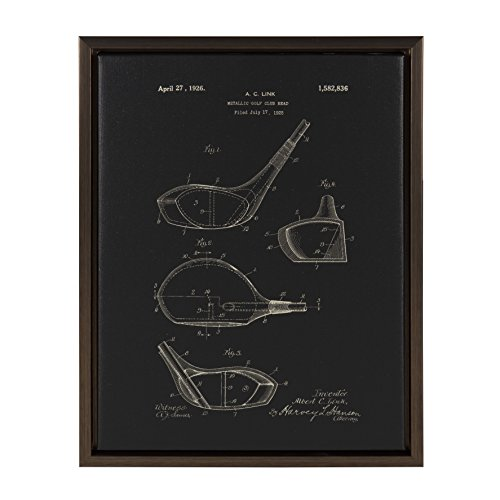 Kate and Laurel Sylvie Golf Club Patent 14x18 Framed Canvas, Bronze