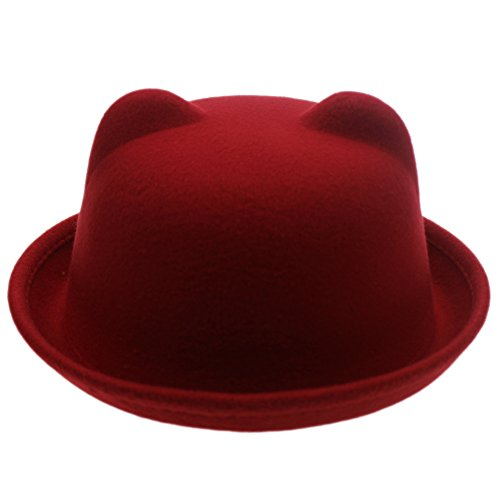 Women Candy Color Wool Woolen Felt Cat Ear Curling Fedora Bowler Top Hat Cap 22