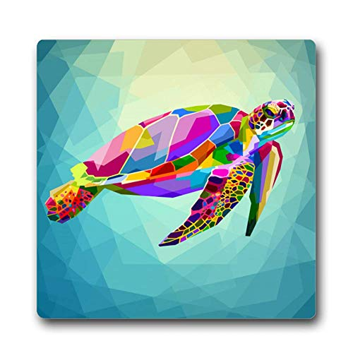 Colorful Turtle Floating Underwater Square Coaster Mat Absorbent Ceramic Stone with Durable Cork Backing