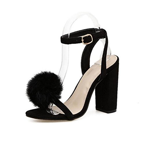con Hair 37 Beige tacco Nero grezzo 40 Estate Ladies YWNC Word Buckle Rabbit black 35 One 2018 Hairball Sandali Sandals PfZqxtHwR