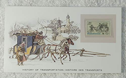 The Sled - Postage Stamp (Czechoslovakia, 1981) & Art Panel - The History of Transportation - Franklin Mint (Limited Edition, 1986) - Horse-Drawn Snow Sled