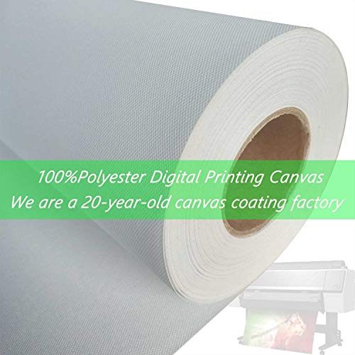 Premium Digital Printing Waterproof 100% Polyester Inkjet Water-Based Matte Art Canvas,Great for Water-Based dye and Pigment Printers (EPSON,HP,Canon Aqueous Printers)