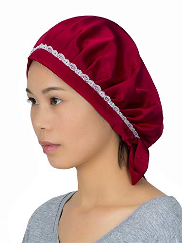 100% Mulberry Silk Night Sleeping Cap Bonnet Hats for Women, Chemo Caps Cancer Headwear Skull Cap,Very Silky & Comfortable (Wine red) ()