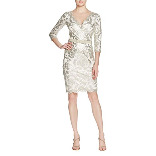 Tadashi Shoji Womens Sequined Belted Cocktail Dress Gray 12