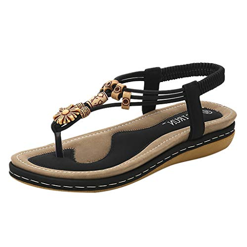 (2019 Newest Women Summer Ankle Strap Sandals, Ladies Casual Round Head Beach Slippers Flat Roman Shoes (Black, 6.5 (US)-9.7