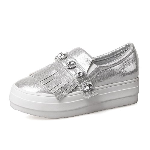 Pumps WeiPoot Pull Round Silver Shoes Women's Heels Solid Toe High Closed On Pu XqtvX1rw