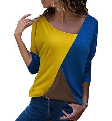 JackenLOVE Primavera e Autunno Donne Tops Moda Patchwork T-Shirt Jumper Camicie Maglioni Casual Maglie a Manica Lunga Bluse Cime Maglietta Blu