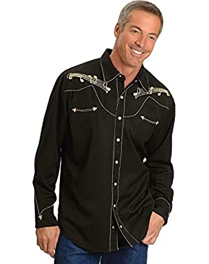 Men's Music Note Embroidered Retro Western Shirt Big and Tall – P627-Blk