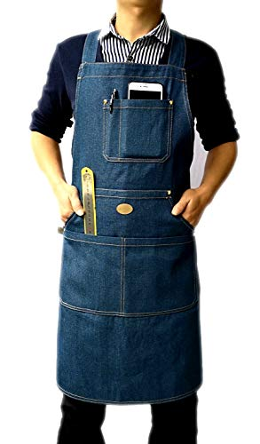 wlbhhl Durables - Chef, Kitchen, BBQ Men's and Women's Denim Apron, Towel or Hand Hammer Ring + Tool Pocket, Easy Belt Adjustable M to XXL (Navy - Navy Hammer Blue