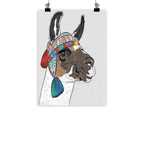 familytaste Llama Chinese Classical Oil paintingAlpaca with an Ethnic Colorful Hat Peruvian Sketch Style Animal Abstract Pattern for Living Room Bedroom Hallway OfficeMulticolor 24