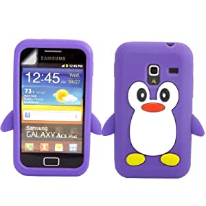 Penguin Silicone Case Cover Skin And LCD Screen Protector For Samsung Galaxy Ace Plus S7500 / Purple