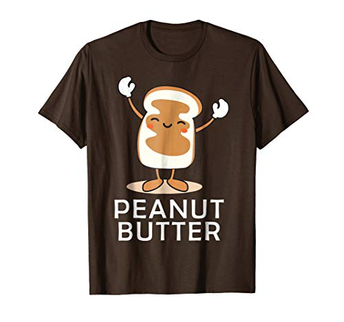Mens Peanut Butter Halloween Couples Bff tee Easy Costume Jelly Medium Brown -