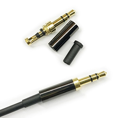 KetDirect 2Pcs Gold 3 Pole 3.5mm Male Repair Headphone Jack Plug Metal Audio Soldering Headset Connector Black