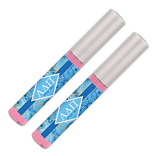 (Alpha Delta Pi Lip Gloss (2 Pack) Soft Pink, Sheer, Smooth & Shiny. Great sorority gifts for Big Little, Bid Day, gift baskets, gift bags, stocking stuffers—by Worthy.)