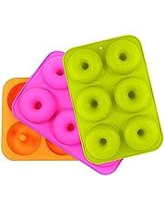 3 piezas Silicone Donut Moldes con 6 Cavidad para Pasteles, Galletas, Rosquillas, Muffins (Naranja, Rose Red, Verde)