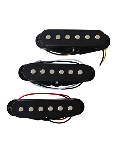 (Metallor Single Coil Scatter Wound Pickups for Strat Style Guitars, Left & Right Hand Brand New Set of 3 Black.)