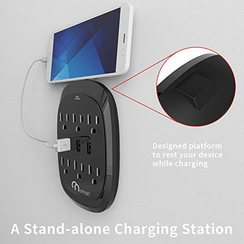 1 Pack Portable Wall-Mount Socket 300J Surge Protection /& Smart Charging for Home Travel ON Smart USB Wall Tap Surge Protector with 6 outlets 3 USB-3.4A Output Office Kitchen