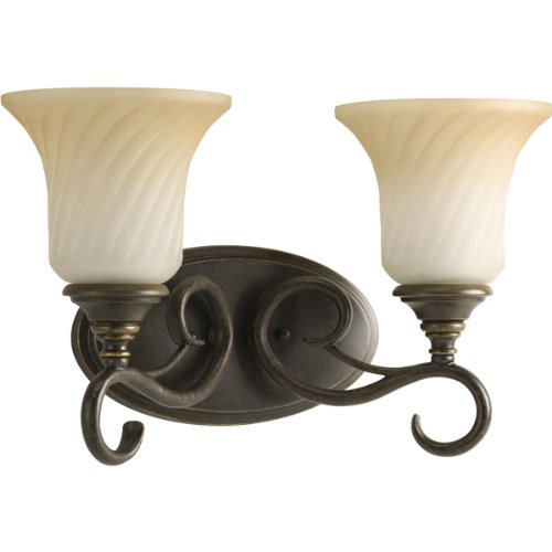 Forged Bronze Two Light Bath - Progress Lighting P2784-77 2-Light Bath Features Scrolled Metalwork with Trumpet-Shaped Textured Glass Shades, Forged Bronze