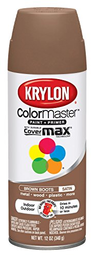 Krylon K05356207 ColorMaster Paint + Primer, Satin, Brown Boots, 12 oz.
