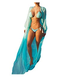 Multitrust Women Chiffon Bikini Swimsuit Cover up Cardigan Summer Beach Dress