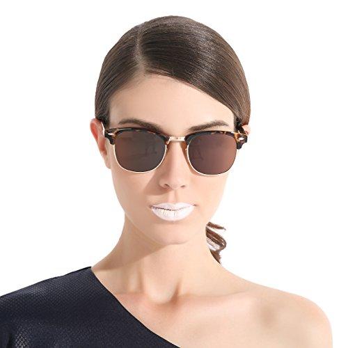 [CHB Men's Women's Retro HD Mirrored Wayfarer Lens Metal Frame Street Polarized Sunglasses UV400 with] (Sports Day Costume Ideas Blue)