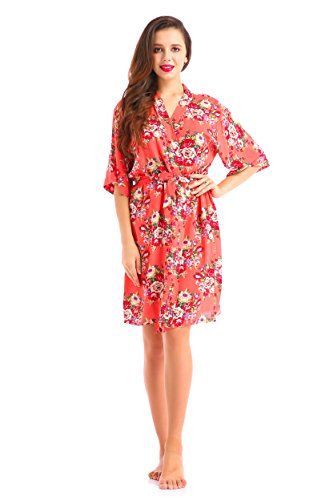 Cotton Hospital Gowns - Lilywei New Wide Belt Robe Print Flower Maternity Hospital Gown,for Moms & to be Moms Maternity Shoot(Coral M)