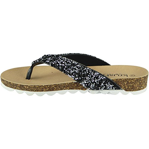 Slip Chaussures 8 Sandales brute Taille Flats ONS Ladies Womens Chappal Noir Apparence Post 3 Toe D'été Mode gBqxCBH