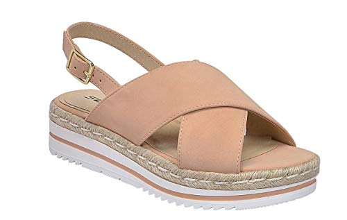 SODA Topic Casual Espadrilles Trim Rubber Sole Flatform Studded Wedge Buckle Ankle Strap Open Toe Sandal (6, Glor-Nude)